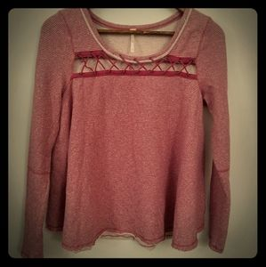 Free People Lace-Up Striped Top